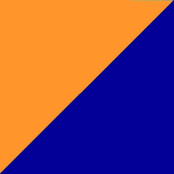 Oranžinė su tamsiai mėlyna
